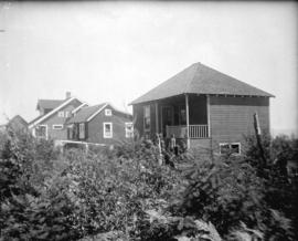 [View of three houses behind bushes and small trees]