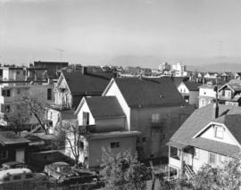 [View looking north west showing the back yards of houses and apartments in the 2100 block 5th Av...
