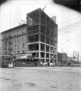 [Construction of headquarters for B.C. Electric Railway Company conductors and motormen, located ...