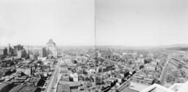 Vancouver looking west from Marine Building, Burrard and Hastings Streets, 1936, panorama of thre...