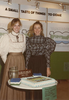 Gail McCormick and Kerri Groves in pioneer costumes at the Future Fair