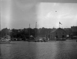 [Vancouver Boating Club floats at the foot of Thurlow Street]