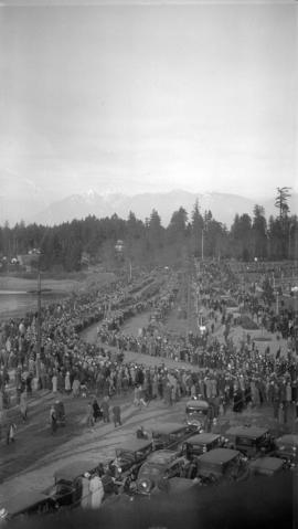 King George Funeral Service [view of memorial procession along causeway into Stanley Park]