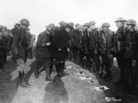 [Inspection of a Canadian battalion and their emergency rations on the Western Front]