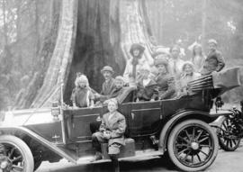 [Touring car in front of Hollow Tree at Stanley Park]
