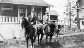 [Wilfred James Sudbury and Sybil Sudbury? on horses in front of 3632 West 3rd Avenue] rear of 362...