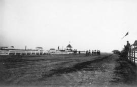 [View of a horse race at Minoru Race Track]
