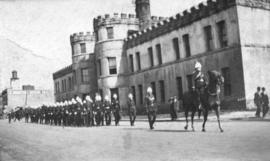 [18th Field Ambulance, Canadian Army Medical Corps leaving Beatty Street Drill Hall]