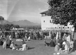 [Crowds beside grandstand at Hastings Park]