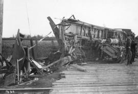 [The remains of a street car near the south end of Main Street after a collision with a freight car]