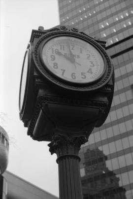 Birk's Clock, detail [Granville Street at West Georgia]
