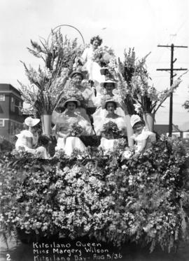Kitsilano Queen, Miss Margery [Marjorie] Wilson, Kitsilano Day [queen and maids of honour on float]