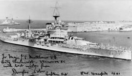 "[H.M.S. ""Warspite"" entering the Grand Harbour, Valletta, Malta]"