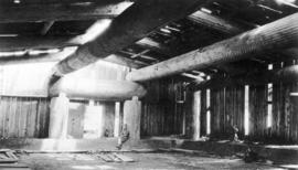 [Interior of longhouse under construction]