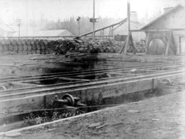 [Equipment and structures at] Dominion Creosote Works [located on the Fraser River, South Vancouver]