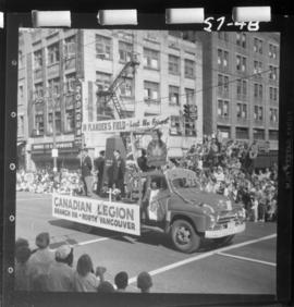 Canadian Legion North Vancouver Branch 118 float in 1957 P.N.E. Opening Day Parade