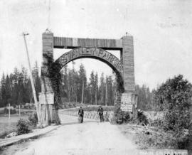 Main entrance [to Stanley Park showing bridge and arch over Coal Harbour]