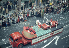 43rd Grey Cup Parade, on Granville Street, Home business float and spectators