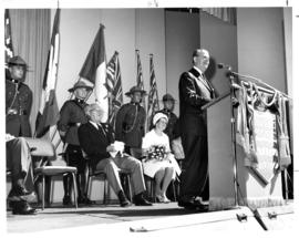 1966 P.N.E. official opening ceremonies : [Premier W.A.C. speaking on Outdoor Theatre stage]