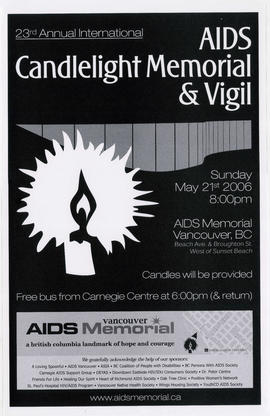23rd annual international AIDS candlelight memorial and vigil : Sunday, May 21st, 2006 : AIDS Mem...