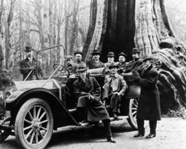 Group of men with car at the Stanley Park Hollow Tree
