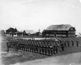 Army cadets in formation on Vancouver High School grounds (Cambie and 12th Avenue)