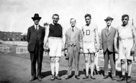 Group of athletes, Archie McDiarmid on far right