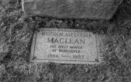 Mayor Malcolm Alexander Maclean Monument - new stone at foot of old monument, Mountain View Cemetery