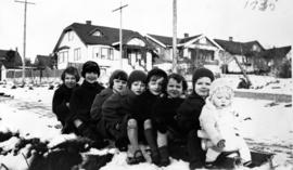 The Gowe children on sled at 38th and Balaclava