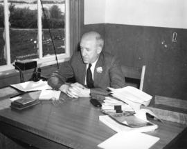 [Stanley Burke, President of Boeing Aircraft of Canada in his new office on Sea Island]