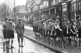 [Boy Scouts wait to parade to St. John's United Church]