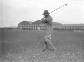 [Richard Bell-Irving teeing off at the Jericho Country Club golf course]