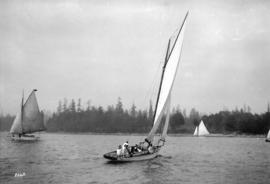 "[Yacht ""Spirit"" R.V.Y.C. 42 foot sloop on English Bay]"