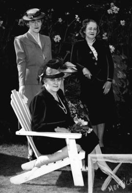 [Mrs. C.R. Draney, Mrs. F.R. Arkell and Mrs. Webb Thomas at a rededication of Stanley Park]
