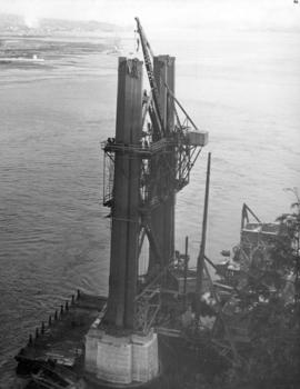 At this time the steel work of the South tower was within two sections of top.  Picture shows how...