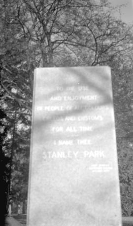 [Base and inscription for the Lord Stanley statue prior to the erection of the statue]
