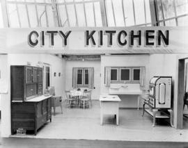 Display depicting a city kitchen