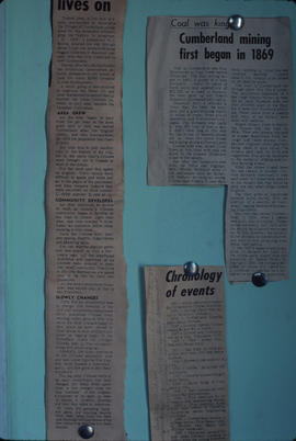 Newsclippings at the Cumberland Museum, Cumberland, B.C.
