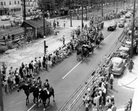 [Parade along West Boulevard near 41st Avenue to celebrate the beginning of trolley bus service]