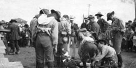 [1st Vancouver Troop, Baden-Powell Boys Scouts practice first aid at Hastings Park]