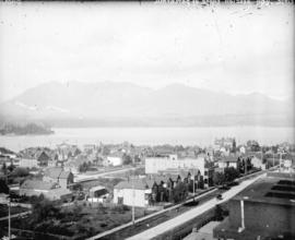 [View of downtown along Howe Street, looking north from the roof of the Hotel Vancouver]