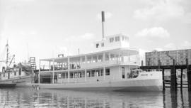 M.S. Moyie [stern wheeler at dock]