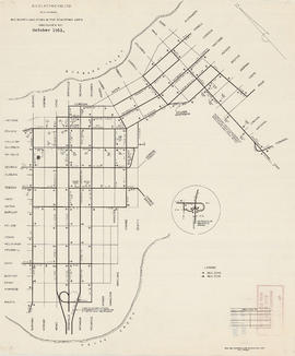 Plan showing bus routes and stops in the downtown area, Vancouver, B.C., October 1961