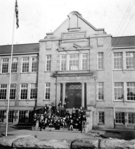 Florence Nightingale School in Mount Pleasant, showing main entrance with students on steps