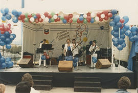 Performers on the Chevron Stage at Playland for Tillicum's birthday party