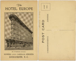 The Hotel Europe, Powell and Carrall Streets, Vancouver, B.C.