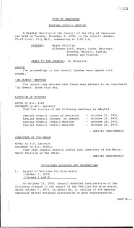 Council Meeting Minutes : Nov. 9, 1976