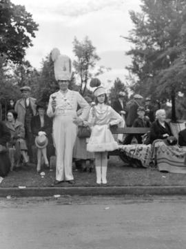 [Major and majorette of Kitsilano Boys Band during visit of King George VI and Queen Elizabeth]