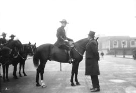 Lord Byng's farewell visit [at C.N. Station, Union Station visible in background]