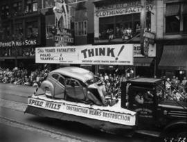 Vancouver Jaycee Traffic Safety Committee float in 1953 P.N.E. Opening Day Parade